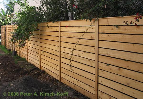 horizontal wood slat fence images