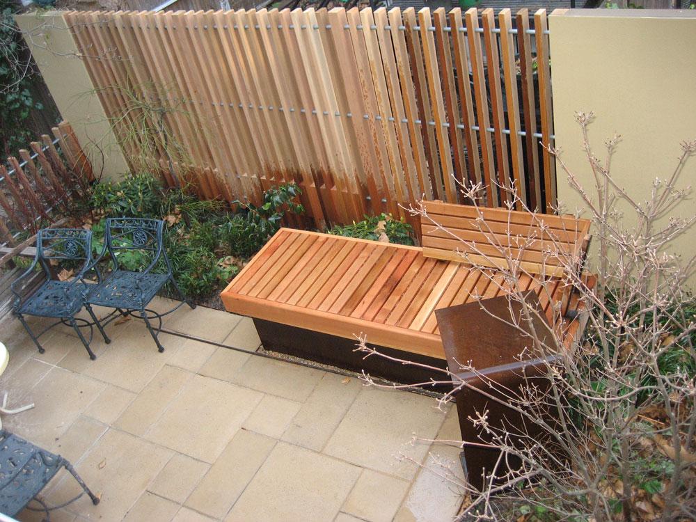 Fence Vertical Slats Redwood And Bench Neighborhood Nursery