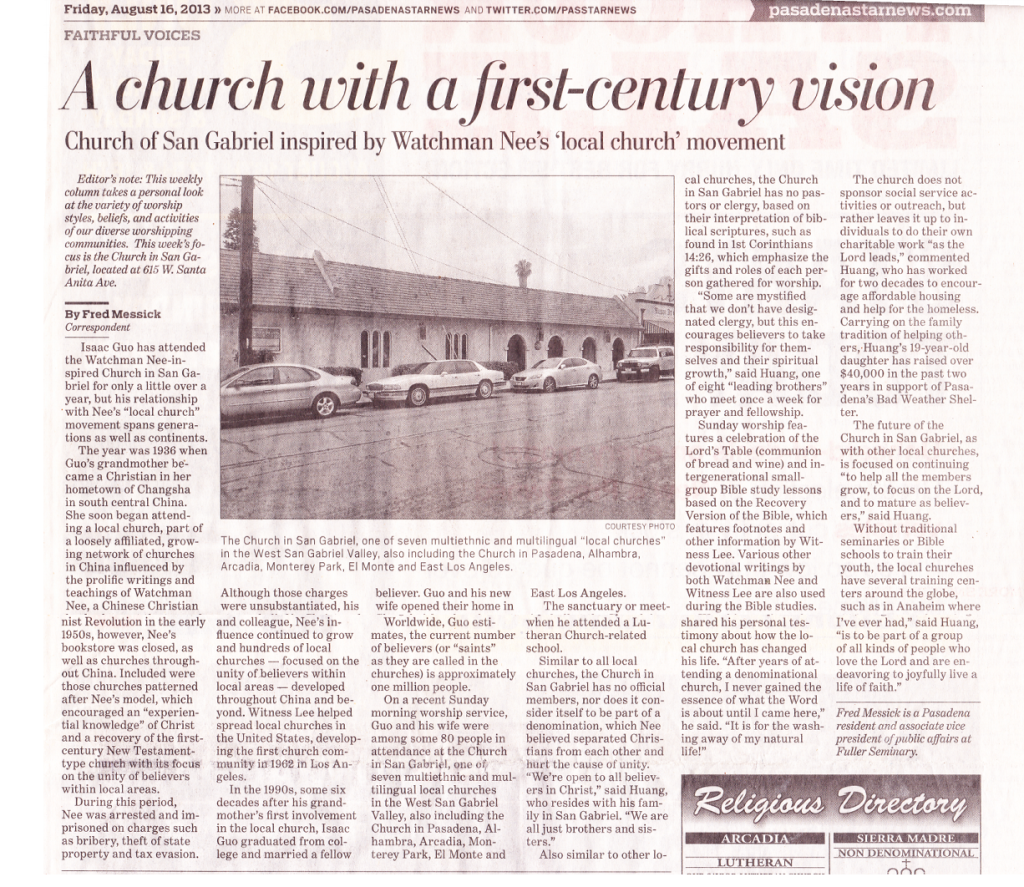 Church In San Gabriel Article In The Pasadena Star News By