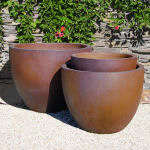 Planter Rustic Brown Large Round 5-6090-tn