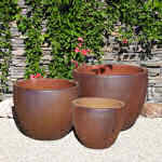 Planter Rustic Brown Round 5-6091-tn
